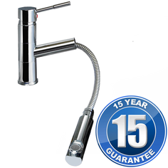 View Item Ratio Chrome Single Lever Pullout Spout Kitchen Sink Mixer Tap 7307