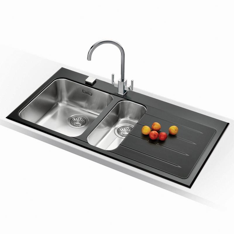 Franke Black Kitchen Sink: Franke Epos 1.5 Black Glass Stainless Steel Kitchen Sink
