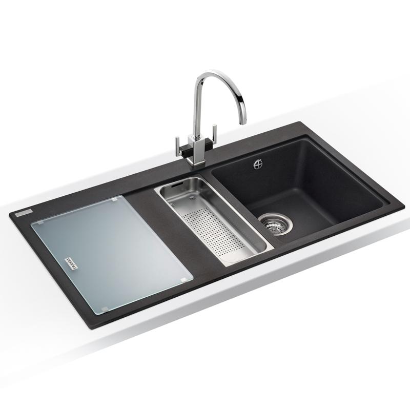 Franke Onyx Granite Sink : Franke Mythos 1 5 Bowl Granite Onyx Black Kitchen Sink MTG651 100 LHD ...