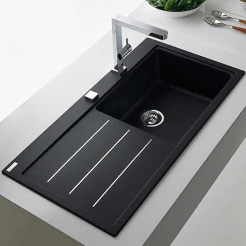 Franke Mythos Fusion 1.0 Bowl Granite Onyx Black Kitchen Sink MTF611 ...
