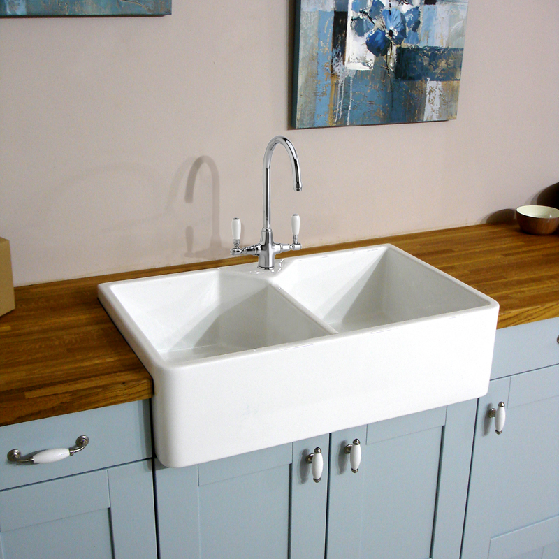 White Double Kitchen Sink : ... 800 2.0 Bowl Traditional White Ceramic Kitchen Sink, Waste & Tap