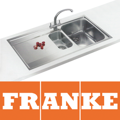 View Item Franke Maris Slim-Top 1.5 Bowl Silk Steel Kitchen Sink MRX251 LHD & Franke Tap