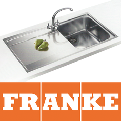 View Item Franke Maris Slim-Top 1.0 Bowl Silk Steel Kitchen Sink MRX211 LHD & Franke Tap