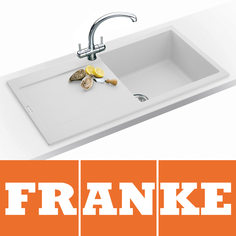 View Item Franke Maris 1.0 Bowl Granite Polar White Kitchen Sink MRG611 & Franke Tap