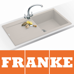 View Item Franke Maris 1.0 Bowl Granite Coffee Beige Kitchen Sink MRG611 & Franke Tap