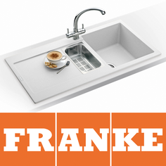 View Item Franke Maris 1.5 Bowl Granite Polar White Kitchen Sink MRG651 & Franke Tap