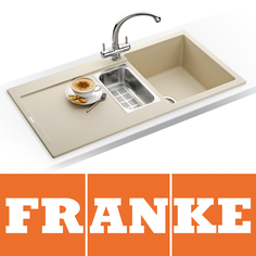 View Item Franke Maris 1.5 Bowl Granite Coffee Beige Kitchen Sink MRG651 & Franke Tap