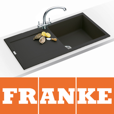 View Item Franke Maris 1.0 Bowl Granite Onyx Black Kitchen Sink MRG611 & Franke Tap