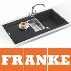 View Item Franke Maris 1.5 Bowl Granite Onyx Black Kitchen Sink MRG651 & Franke Tap