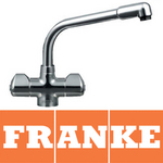View Item Franke Danube Chrome Twin Lever Swivel Spout Kitchen Sink Mixer Tap