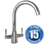 View Item Harris Chrome Twin Handle Swivel Spout Kitchen Sink Mixer Tap MZ1002