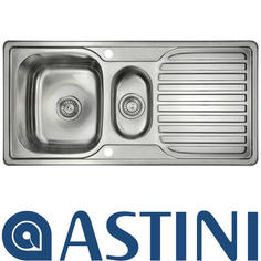 View Item Astini Velia 1.5 Bowl Brushed Stainless Steel Kitchen Sink & Waste AS1360