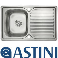 View Item Astini Velia 1.0 Bowl Brushed Stainless Steel Kitchen Sink &amp; Waste AS1347