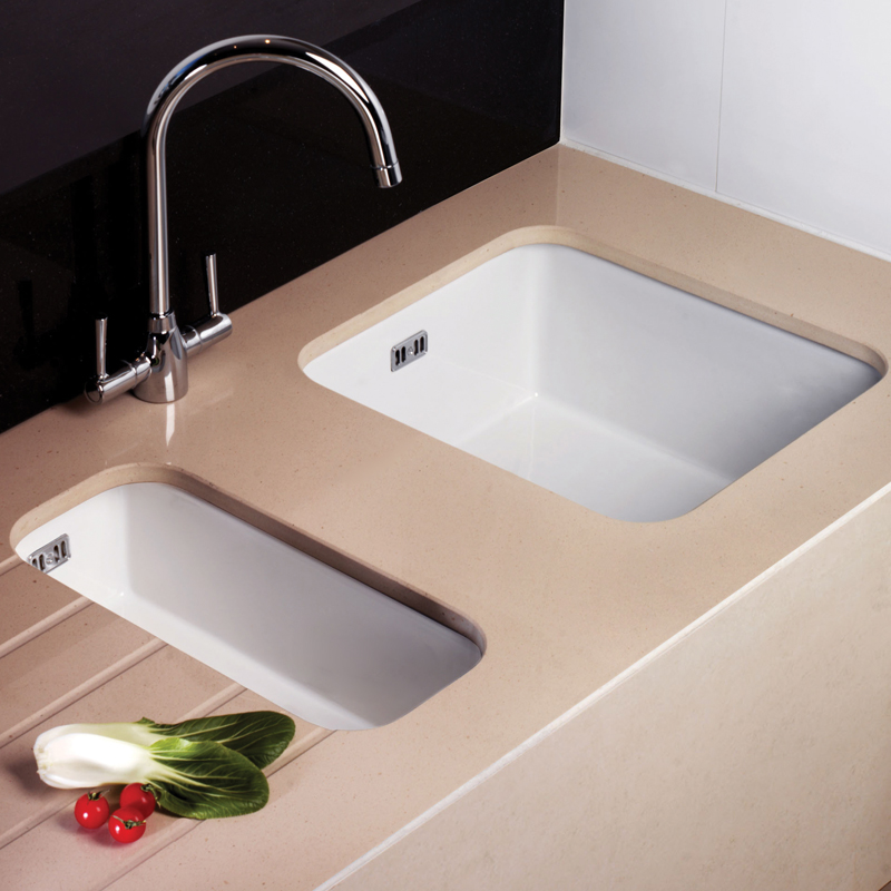 ... Hampton 100 1.0 Bowl White Ceramic Undermount Kitchen Sink & Waste