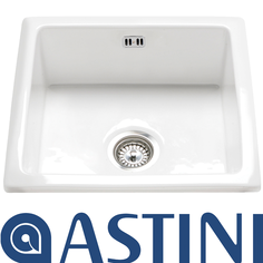 View Item Astini Hampton 100 1.0 Bowl White Ceramic Undermount Kitchen Sink &amp; Waste