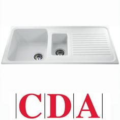 View Item CDA Asterite 1.5 Bowl Granite White Kitchen Sink AS2WH