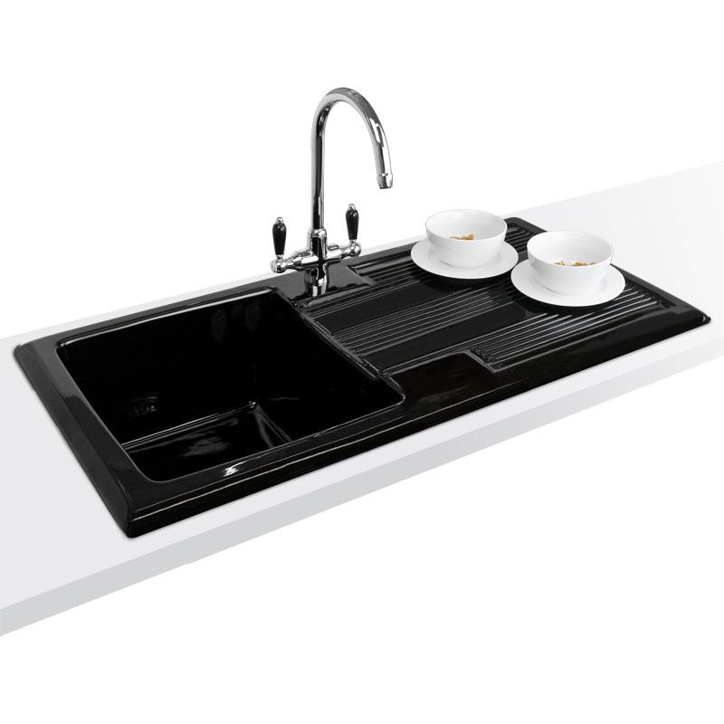 Black Kitchen Sink Taps Uk: Astini Canterbury 100 1.0 Bowl Gloss Black Ceramic Kitchen