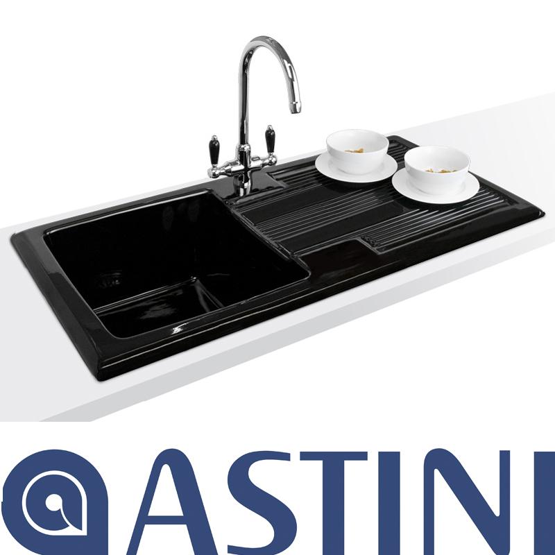 Black Kitchen Sink And Taps: Astini Canterbury 100 1.0 Bowl Gloss Black Ceramic Kitchen