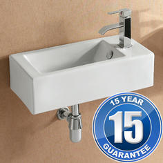 View Item Europa Mito 1TH Contemporary Ceramic Bathroom Wall Hung Basin Sink Right 4127A