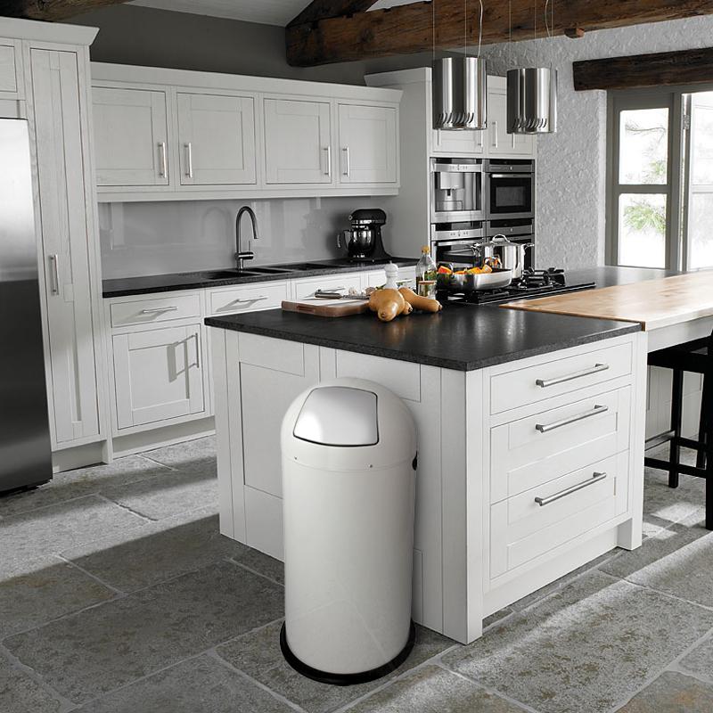 White Kitchen Bin inmotion 55l gloss finish retro push flap kitchen waste dust bin