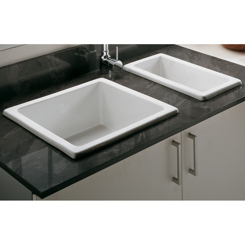 Astini hampton 50s 0 5 bowl white ceramic undermount - Undermount ceramic kitchen sink ...
