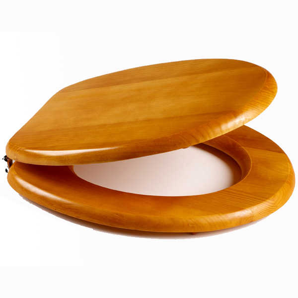 Veneer Antique Pine Toilet Seat With Antique Gold Plated Bar Hinge Pictures T