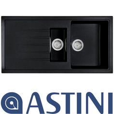View Item Astini Gianni 1.5 Bowl Granite Metalic Nera Black Kitchen Sink & Waste