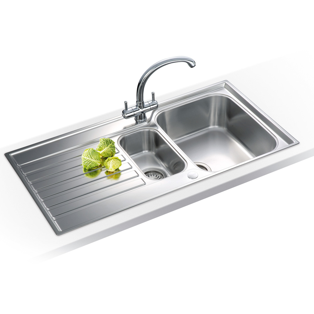 Best Stainless Steel Sinks Uk : Taps UK - Franke Ascona 1.5 Bowl Silk Stainless Steel Kitchen Sink ...