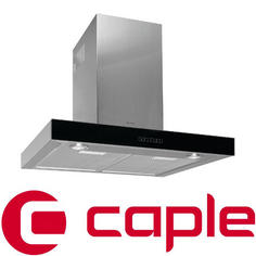 View Item Caple Sense Stainless Steel and Black Glass Wall Chimney Hood ZC620