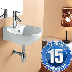 View Item Europa Madrid 1TH Contemporary Ceramic Counter Top Bathroom Basin Sink 4033