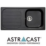 View Item Astracast MSK 1.0 Bowl Granite Italian Black Kitchen Sink & Waste