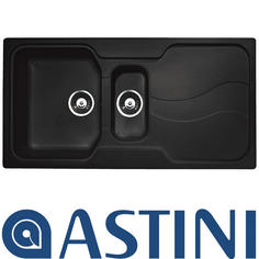 View Item Astini Visage 1.5 Bowl Granite Volcano Black Kitchen Sink & Waste
