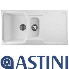 View Item Astini Visage 1.5 Bowl Granite Opal White Kitchen Sink & Waste