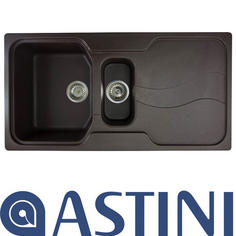 View Item Astini Visage 1.5 Bowl Granite Chocolate Metalic Kitchen Sink & Waste