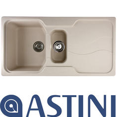 View Item Astini Visage 1.5 Bowl Granite Sahara Beige Kitchen Sink & Waste
