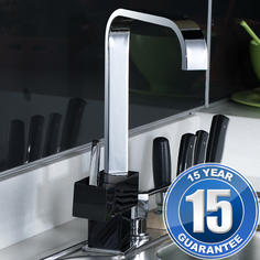View Item Cosmo Chrome & Black Single Lever Swivel Spout Kitchen Sink Mixer Tap 5ECB