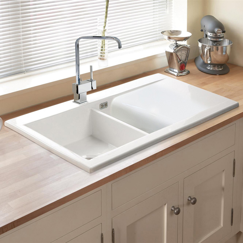 ... 150 1.5 Bowl Gloss White Ceramic Kitchen Sink, Waste & 5E Tap eBay