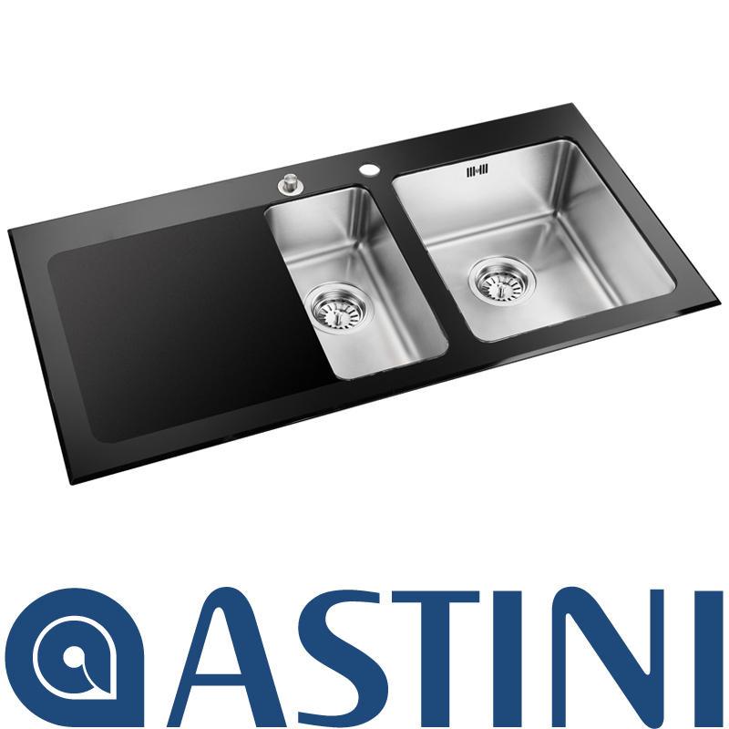 Astini Celso   Bowl Black Glass Kitchen Sink Uk