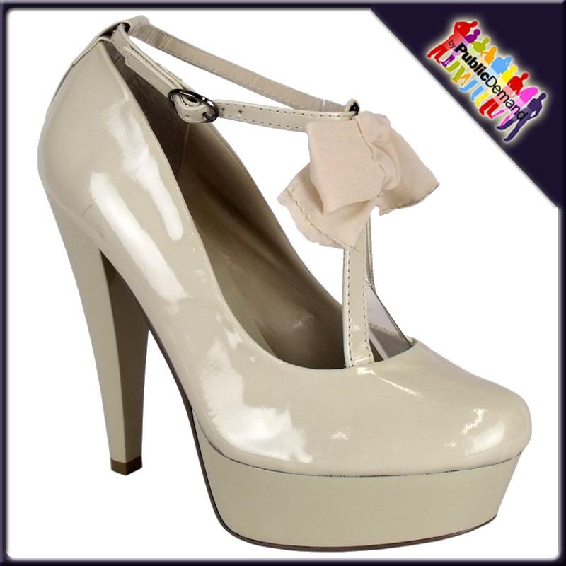 WOMENS CREAM PATENT CHIFFON BOW STRAP HIGH HEELS SZ 3-8 | eBay Cream Heels With Bow