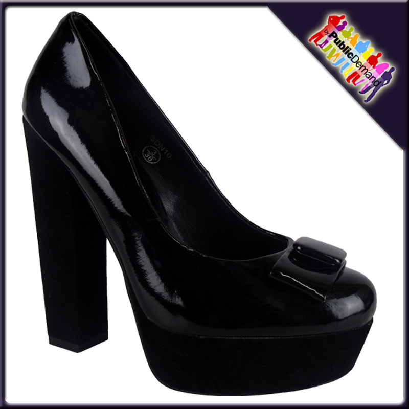 LADIES-BLACK-PATENT-PLATFORM-BLOCK-HEEL-SHOES-SIZE-3-8