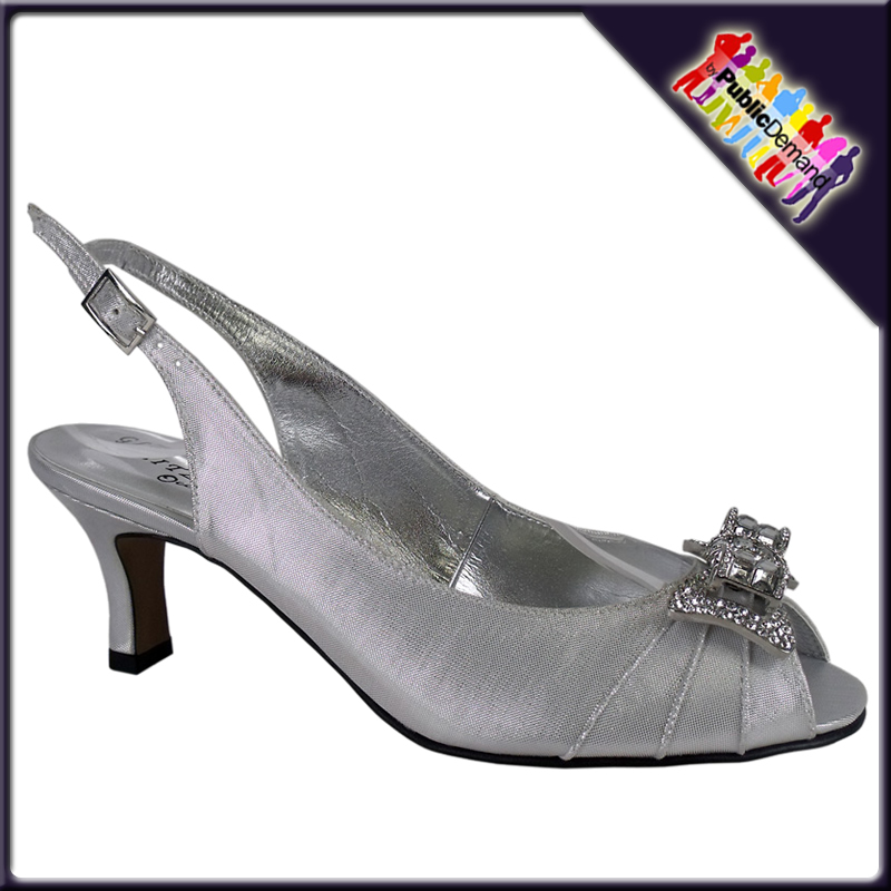 LADIES SILVER SATIN DIAMANTE PEEP TOE BRIDAL SHOES 3-8