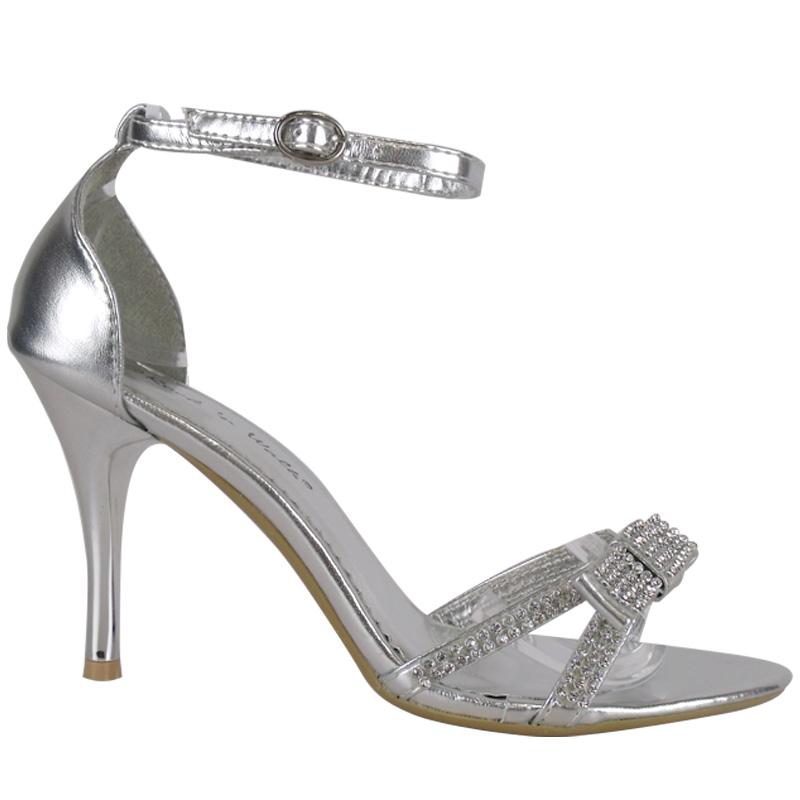 stiletto pumps damen riemchen silber diamante schleifchen. Black Bedroom Furniture Sets. Home Design Ideas