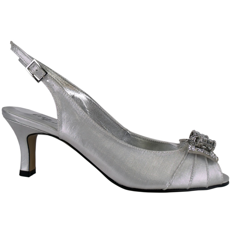 WOMENS SILVER SATIN DIAMANTE LOW HEEL WEDDING SHOES Sz5