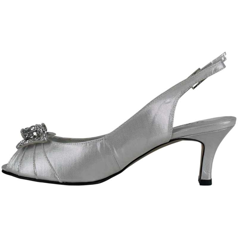 WOMENS SILVER SATIN DIAMANTE LOW HEEL WEDDING SHOES Sz6