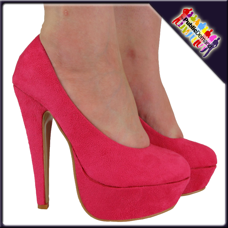 womens pink suede high platform court shoes size 3 8 uk ebay
