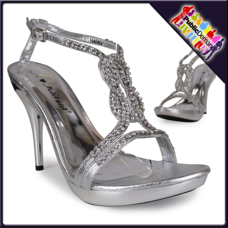 stiletto pumps damen sb5 silber strass riemchen high heels. Black Bedroom Furniture Sets. Home Design Ideas