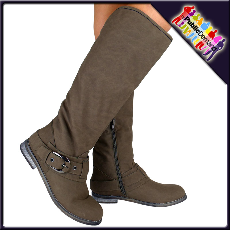 R1-WOMENS-LADIES-FLAT-UNDER-KNEE-RIDER-ZIP-UP-BIKER-FUR-TURN-OVER-WINTER-BOOTS
