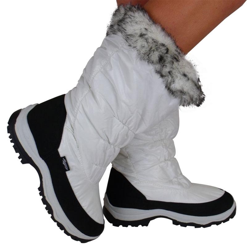 s1g womens white wide calf fur snow mucker winter