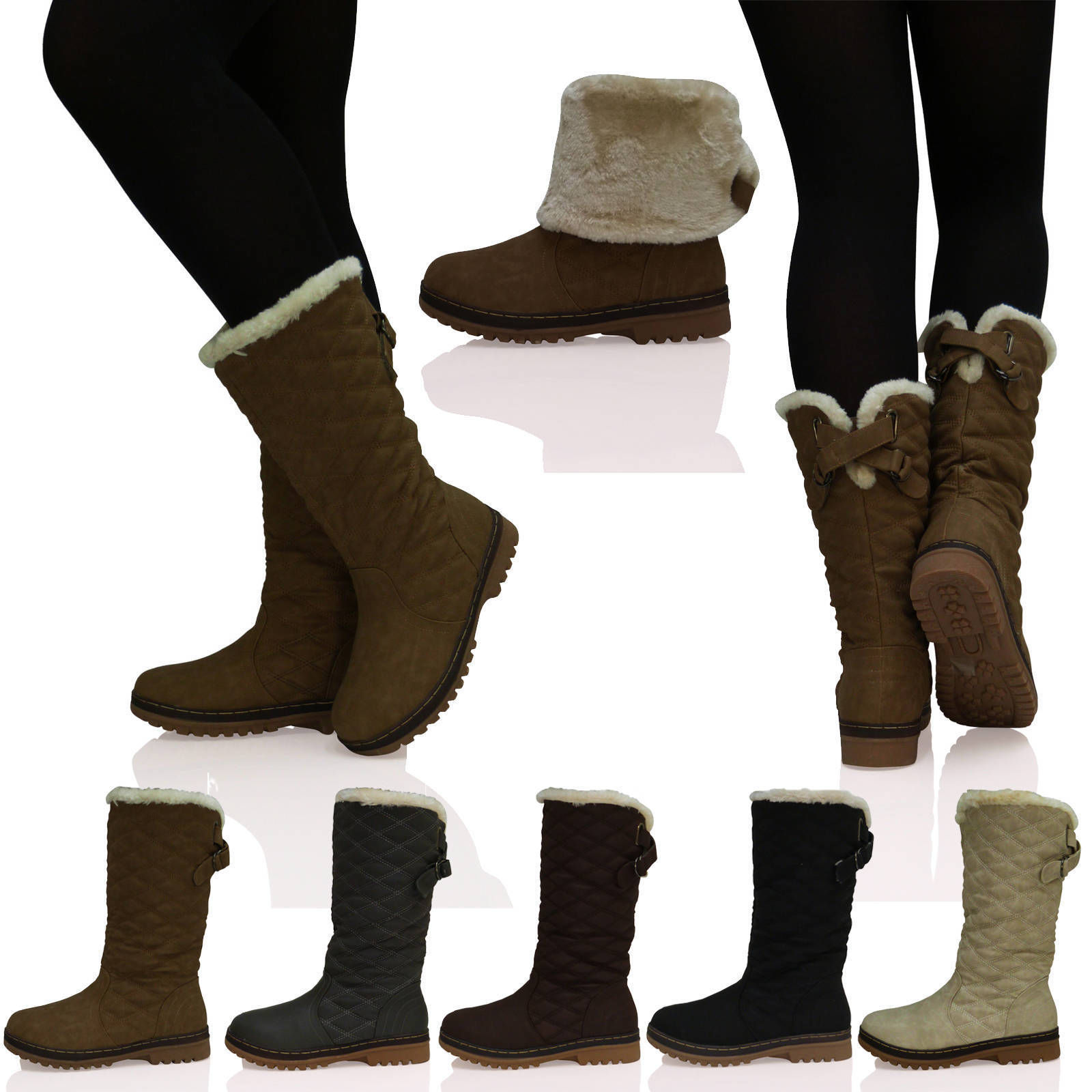 D4X Womens Ladies Quilted Faux Fur Lined Thick Sole Mid Calf Boots Shoes Size