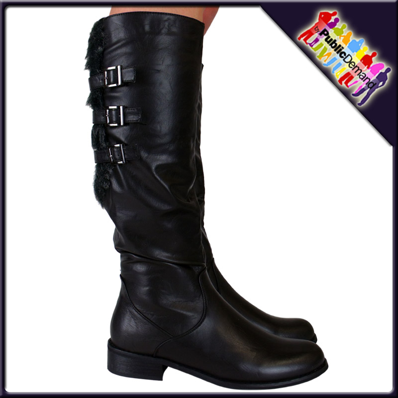 R6-LADIES-WOMENS-CASUAL-BIKER-STYLE-MID-CALF-UNDER-KNEE-HIGH-RIDING-RIDER-BOOTS